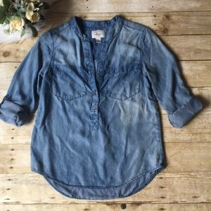 Bass Chambray Blouse Top Size XS